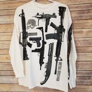 Metal Mulisha Mens White Arsenal Guns Tee Size M